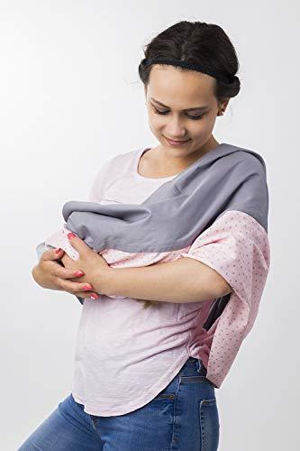 MINIS KREATIV Stillschal für diskretes Stillen Ihres Babys, Stilltuch für unterwegs I 100{5d7097d4620f99cd5c6c312d0ff3c44b5483f810bade0eb289ab39a35b6cb1b9} Öko-Tex Baumwolle   3 Farben - 2 Größen I mit innenliegende Tasche für Stilleinlage, Loop (Rose Gray, L/XL)