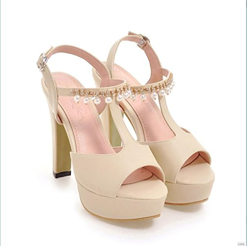 Sproud Wasserdichte Plattform High Heels Sandaletten Women'S Heel 2017 Neue Sommer Sexy Schuhe Mit Rollrand 35 Leuchtet Gelb