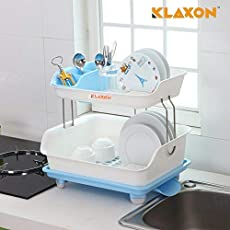 Klaxon Kitchen Dish Drainer Rack Plastic 2 Layer Dish Drainer Rack Basket - Blue & White