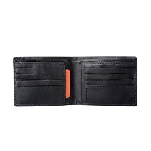 Nuvola Pelle Portafoglio uomo Sottile in Vera Pelle con 8 slot Porta carte di credito e Tessere Nero