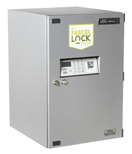 BURG-WÄCHTER Paketbox vor dem Haus für den Empfang und Versand von Paketen Zuhause, Elektronisches Öffnungs- und Schließsystem, eBoxx mit ParcelLock-System, E 634, Silber
