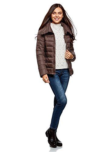 oodji Ultra Damen Warme Jacke mit Hohem Kragen Braun (3900N)