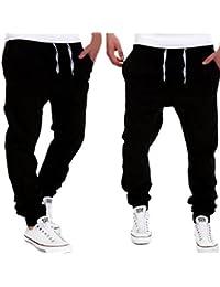 Amlaiworld Pantalones de Chándal de Hombres Pantalones de Deporte Pantalones Jogger Casuales para Hombre (Negro, L)