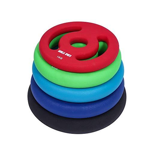 GORILLA SPORTS® Hantelscheiben-Set Neopren 30/31 mm Bohrung - 2er-Set Gewichte mit Griffen Gusseisen 10 kg - 2 x 5 kg
