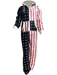 LADIES WOMEN AMERICAN FLAG ONE PIECE HOODED JUMPSUIT PLAY SUIT SIZE 8-14