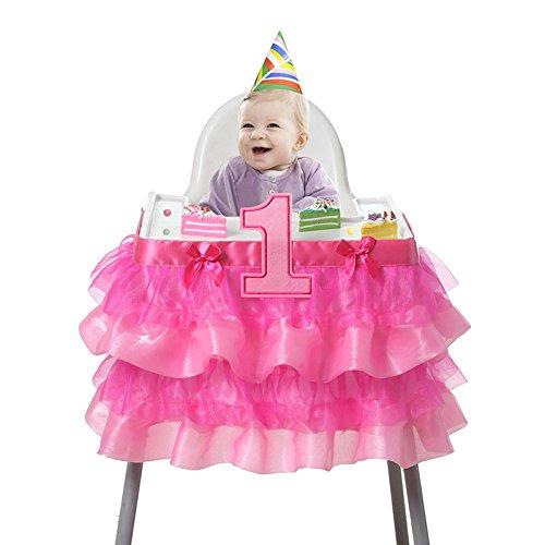 Lanlan Baby 1. Geburtstag Tüll Tisch Rock, Netz Plissee Mesh für Party Baby Dusche Geburtstag Kuchen Tisch Decor, rot