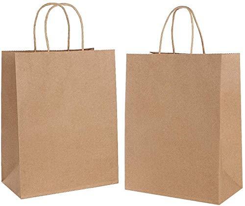 Gaoyong 30 STK Papiertüten Braun,Geschenktüten Papier,Papiertüten mit Henkel,Partytüten aus Papier Für Lebensmittel Backen Einkaufen Merchandise Boutique Einzelhandel (verdicken 130gsm)