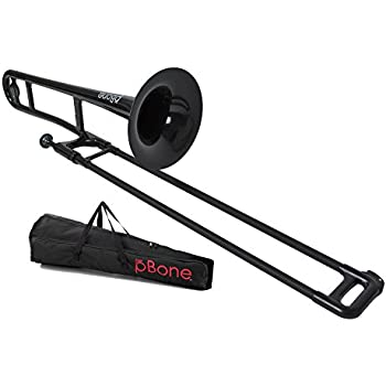 pBone Plastic Trombone with Mouthpiece and Bag - Black