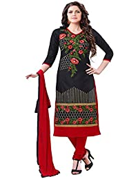 Jheenu Women's Black Glass Cotton Unstitched Dress Materials
