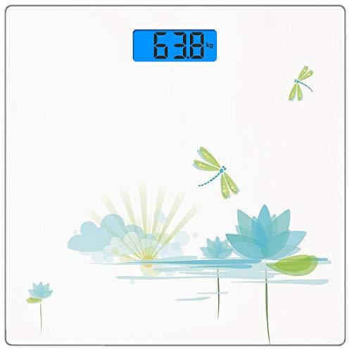 Präzisions-Digitalwaage Dragonfly Ultra Slim Gehärtetes Glas Personenwaage Genaue Gewichtsmessungen, Seerose und Libelle Natur Hintergrund Wolken See Sonne Design, Apfelgrünes Licht B -