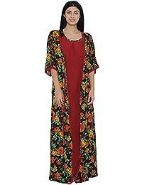 Clovia Crepe Nighty with Floral Print Robe - (NS0925P09-$P)