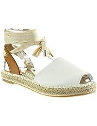 Angkorly - Chaussure Mode Espadrille Sandale ouverte femme corde noeud lacets Talon bloc 2 CM - Blanc