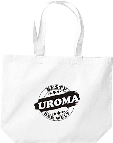 ShirtInStyle grosse Einkaufstasche Beste UROMA der Welt Weiss