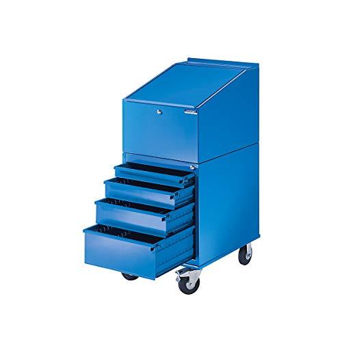 EUROKRAFT Rollpult - mit 4 Schubladen - Farbe lichtblau RAL 5012 - Arbeitspult Fahrbares Stahpult...