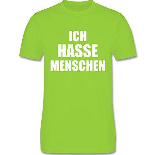 Shirtracer Statement Shirts - Ich Hasse Menschen - Herren T-Shirt Rundhals  Hellgrün