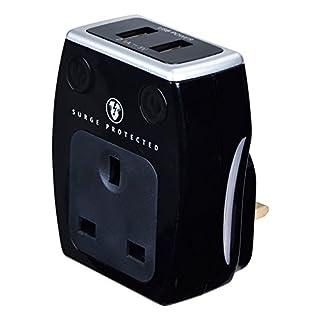 masterplug SRGAUSBPB2. 2 x 2.1 A USB Charger with Plug Through Surge Protected Power Socket - Polished Black