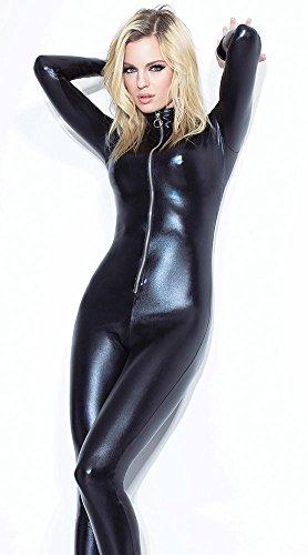 sczl Frauen Sexy Leder Dessous Kostüm Catwoman Latex Catsuit PVC Body Overall Siamesische Strumpfhosen ()