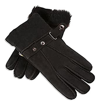 Nordvek Gents 100% Genuine Sheepskin Gloves With Strap Cuff # 307-100 - Small, Black