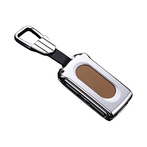 NiuSY Fall für Volvo XC90V90cc S90XC60Schlüssel, Aluminium Legierung Auto Schlüsseletui Schlüsselanhänger Kette Auto Schlüsselanhänger Cover Smart-Fernbedienung, Silber