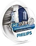 PHILIPS MASTERDUTY BLUEVISION - Boîte de 2 ampoules halogènes H7 13972MDBVS2 Résistance extrême aux vibrations et Effet Xénon 4000K