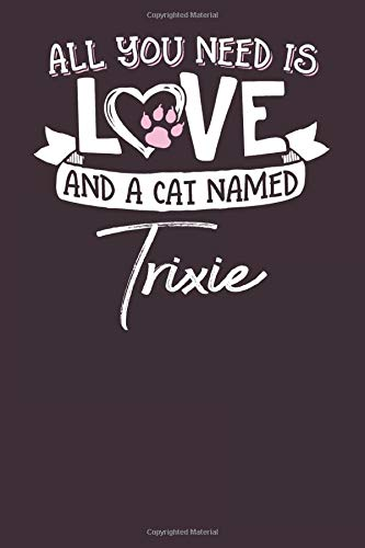 All You Need is Love and a Cat Named Trixie: 6x9 Cute Trixie Cat Name Notebook Journal Gift for Cat Lovers Owners