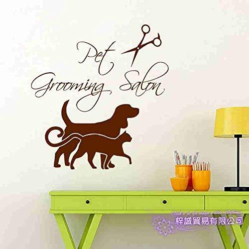 yaoxingfu Hund Katze Pflege Salon Pet Shop Aufkleber Aufkleber Poster Vinyl Wandkunst Aufkleber Parede Decor Wandbild Pet Shop Sti Card Farbe 116x122cm -