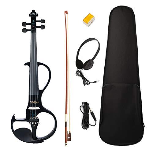 H HILABEE Ahornholz 4/4 elektrische Violine Geige für Anfänger mit Koffer, Geigenbogen, Kopfhörer, Kolophonium (Volle Größe) - Schwarz