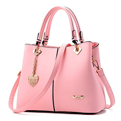 (Maysurban Damen Tote Handtasche Leder Modern Frauen Henkeltasche Große Umhängetasche mit Anhänger Multifunktionale Shopper für Freizeit, Arbeit und Reise Pink)