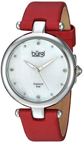 Burgi Damen-Armbanduhr Quarz Edelstahl und Leder Casual, Farbe: Rot (Modell: bur169rd)