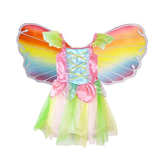 LUOEM Costume Farfalla Bambina Ali da Farfalla Bacchetta Magica Cerchietto e Gonna Tutu Taglia S