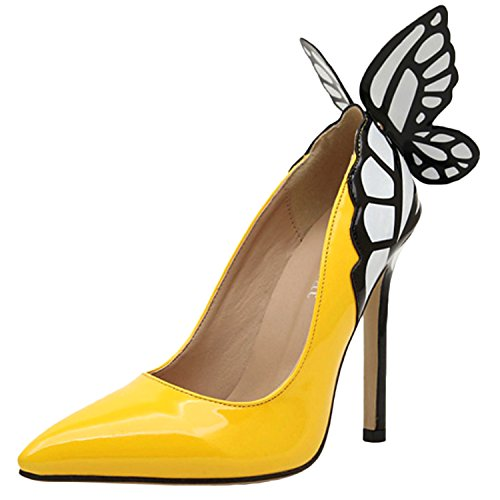 Oasap Women's Pointed Toe High Heels Slip-on Butterfly Pumps yellow