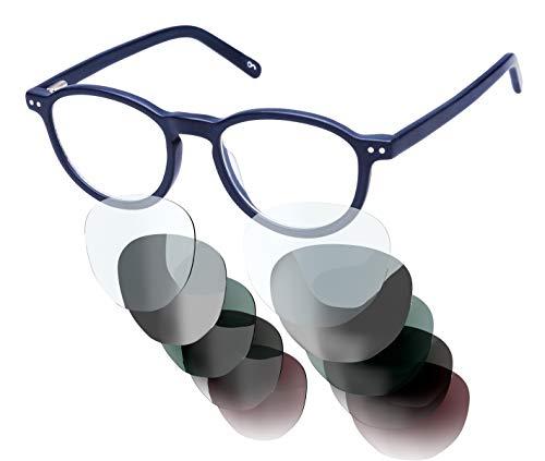 Sym Brille mit wählbarer Sehstärke von -4.00 (kurzsichtig) bis +4.00 (weitsichtig) und auswechselbare Gläser in 6 Farben, für Damen & Herren (Unisex), Modell 04n