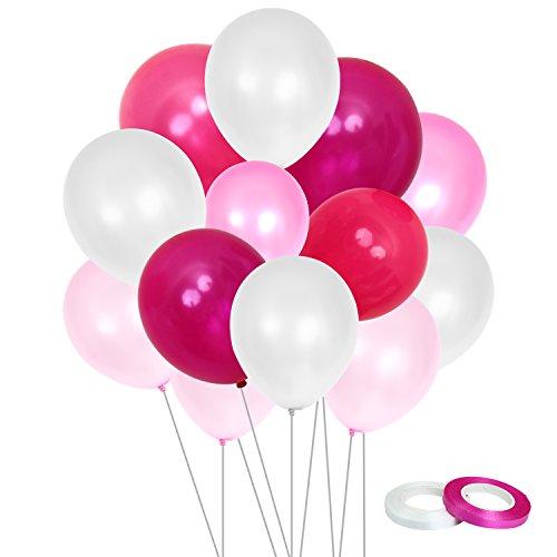 Aneco 120 Stück 12 Zoll Rosa Serie Ballon Weiß Latex Ballons mit Ballons String für Hochzeit Baby Shower Hen Party Jubiläum Dekorationen, 6 Farben