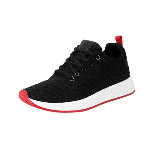 Mesh Sneaker Herren,❤️Absolute Männer 2018 Sommer Neue Turnschuhe Kreuzgurte Flache Schuhe Freizeitschuhe Gym Skate Schuhe Mode Laufschuhe Atmungsaktiv Sportschuhe (EU:41/CN:42, Schwarz)