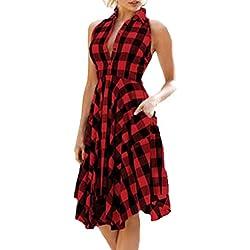 OverDose mujer De La Vendimia Bodycon Plaid Sin Mangas De La Sociedad De La Cremallera del Dobladillo Irregular Vestido De Fiesta De Noche Camisa A Cuadros Falda (XL, Rojo)