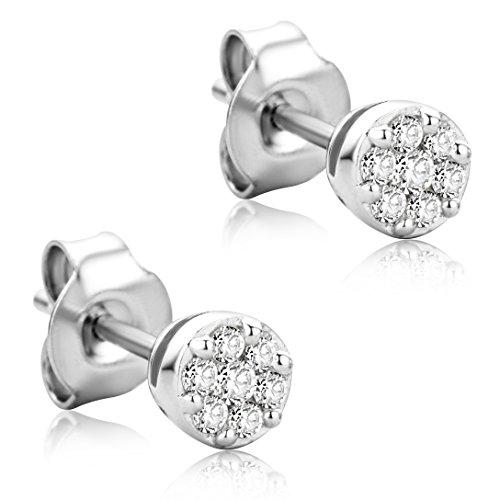 Orovi Orecchini Donna Piccoli a Lobo in Oro Bianco con Diamanti Taglio Brillante Ct 0.17 Oro 18 kt /750