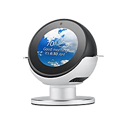 Echo Spot Stand Becemuru 360°rotatable Aluminum Alloy Stand Mount With Anti-slip Base Protector For Amazon Echo Spot (Silver)