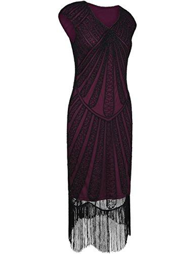 1920er Jahre Inspirert Perlen Art Deco Franse Flapper Kleid S Burgund (20er Jahre Kleidung)