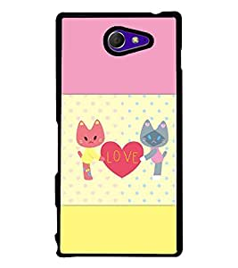 PrintVisa Designer Back Case Cover for Sony Xperia M2 Dual :: Sony Xperia M2 Dual D2302 (Cute Cat Love Pink and Leamon Yellow Pattern)