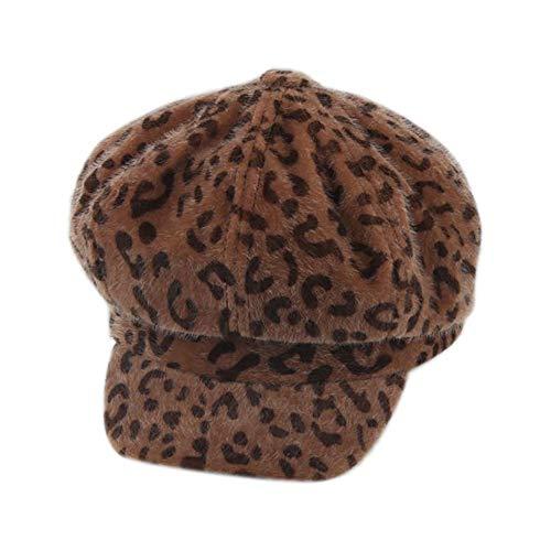 Likecrazy Damen WinterLeopard Drucken Kappe Damen Mütze Beret Warm Fashion Hat Street mode Frauen Beanie Mütze Erwachsene wärmen Winterkappe (Mehrfarbig3,one size)