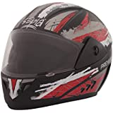 Sepia Premium Rider Full Face Graphic Helmet (Black and Red, M)