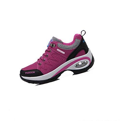 Damen Wanderschuhe Wasserdichte Keilabsatz Halbschuhe Schnürsenkel Anti-Rutsche Outdoor Schuhe Rosarot
