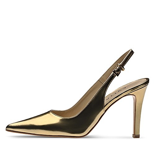 NATALIA Damen Sling Pumps Brushleder Gold