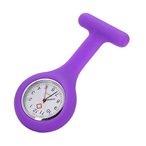 Armbanduhr, erthome Silikon-Krankenschwester Watch Brosche Tunika Taschenuhr mit kostenlosen Batterie Doktor Medizinisch (Violett)