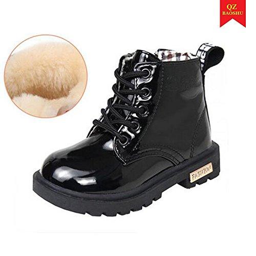 QZBAOSHU Bebé Chicos Chicas Tobillo Botas Impermeable Nieve Botas para 2-12 Años Antiguo Niños (34: pie 20,0 cm o 7,9 pulgadas, Negro: felpa interior)