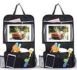 INTEY 2 Organizer Autositz Stück Wasserdicht Rückenlehnenschutz Tasche Rücksitz Organizer Auto Aufbewahrungstasche Rücksitztasche Kinder Rücksitzschoner iPad-Tablet-Halter [58 cm * 34 cm]