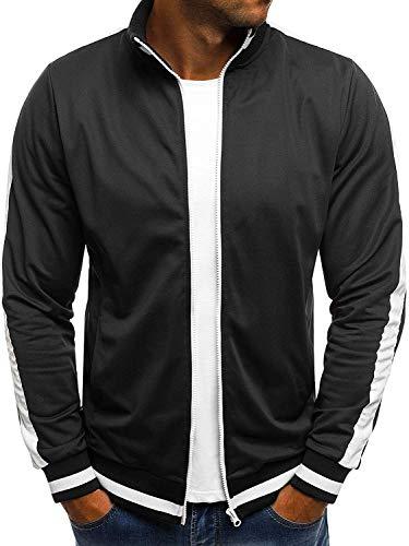 OZONEE Herren Sweatshirt Sweatjacke Sportjacke Pullover Pulli Basic Klassiker Longsleeve O/2126 SCHWARZ L