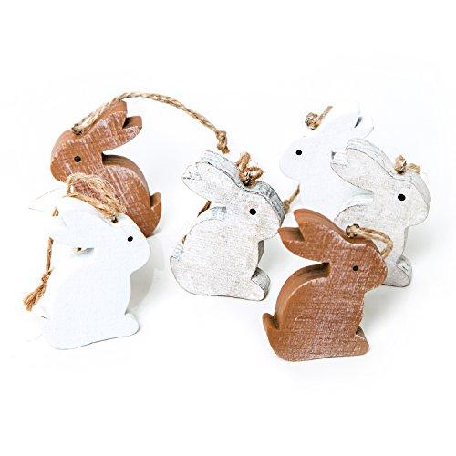 6 Stück kleine weiß BRAUNE Holz Osterhasen 6 cm zum Aufhängen - Holzhasen Osterdekoration Osterhänger als Geschenkanhänger give-away - Oster Dekoration zum Hängen oder Osternest verzieren