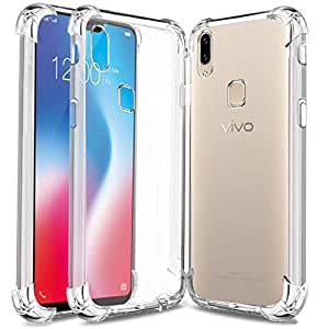 Jump Start Vivo V9 Pro TPU Back Case, Shock-Absorption TPU Bumper Cover with Scratch Resistance and Hyrbrid Drop Protection for Vivo V9 Pro - Crystal Clear Transparent