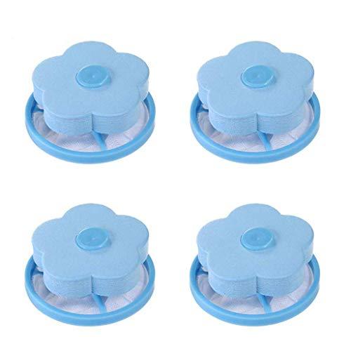 Hirolan_Zuhause Blume-Art Waschmaschine Schwimmende Fussel Netzbeutel Haar Filter Net Pouch Wäschefilterbeutel, Schwimm Filter Net Bag Haarentferner (Blau) -